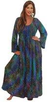 Lotustraders Maxi Dress Smocked Lacing Long Sleeve Boho Gypsy Bali Batik L708