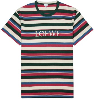 Loewe Striped logo-embroidered cotton T-shirt