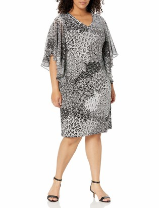 MSK Women's Plus-Size Flutter Sleeve Woven Printed Dress