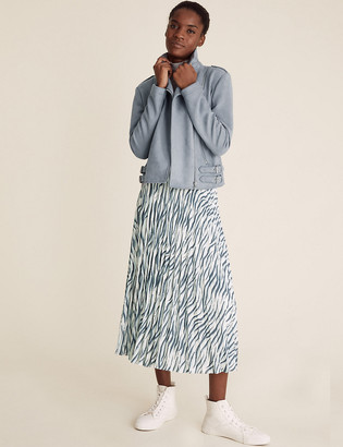 Marks and Spencer Animal Print Pleated Midi A-Line Skirt