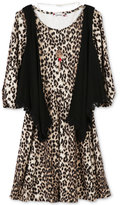 Speechless 2-Pc. Cheetah Dress, Vest and Necklace Set, Big Girls (7-16)