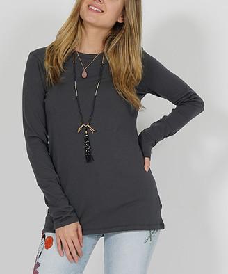 Ash Lydiane Women's Tee Shirts  Gray Crewneck Long-Sleeve Tee - Women & Plus
