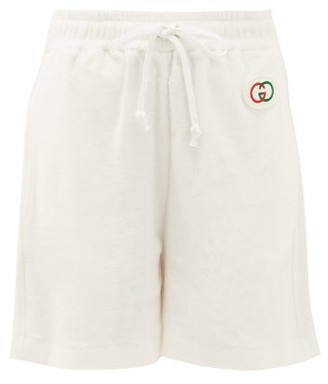 Gucci Logo Patch Cotton-terry Shorts - Ivory