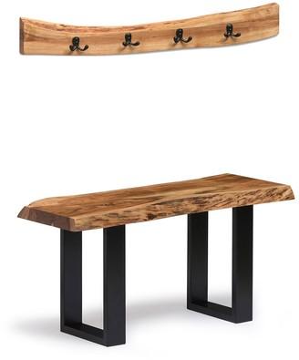Alaterre Furniture Alpine Live Edge Bench, Coat Hook & Key Holder 3-piece Set