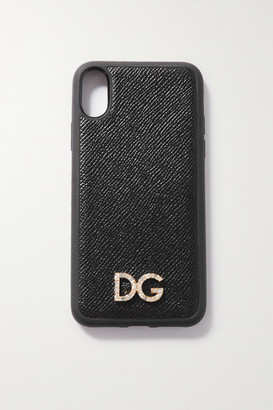Dolce & Gabbana Crystal-embellished Textured-leather Iphone X And Xs Case - Black