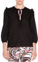 Emilio Pucci Ruffle-Trimmed Peasant Top, Black