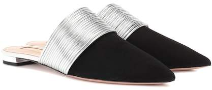 Aquazzura Rendez Vous suede slippers