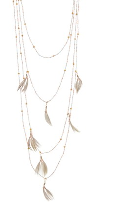 Valentino Beaded & Feather Drop Multi-Strand Necklace