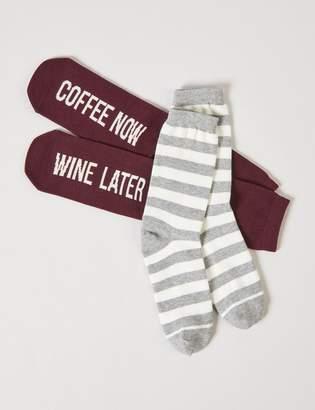 Lane Bryant Crew Socks 2-Pack - Stripes & Graphic