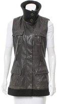 Diane von Furstenberg Leather Wool-Trimmed Vest