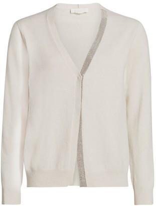 Fabiana Filippi Virgin Wool & Silk V-Neck Knit Cardigan