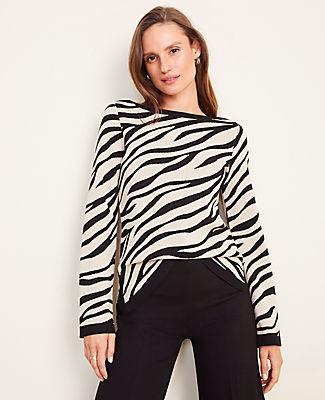 Ann Taylor Petite Zebra Print Seasonless Yarn Boatneck Sweater