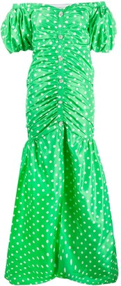 Alessandra Rich Polka-Dot Silk Gown