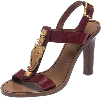 Valentino Burgundy Leather Scarab T-Strap Sandals Size 37