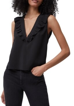 French Connection Crepe Ruffled Sleeveless Top