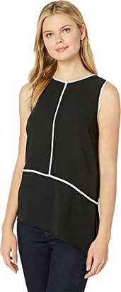 Calvin Klein Women's Sleeveless Angled Hem Top with Piping