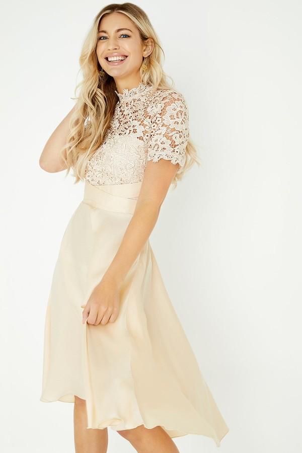 Thumbnail for your product : Little Mistress Lizzy Beige Crochet Lace Midi Dress