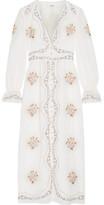 Vilshenko Kora Embroidered Cotton-voile Midi Dress - Ecru
