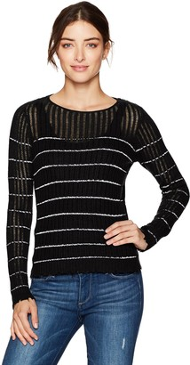 Minnie Rose Women's Stripped Distressed Cashmere Sweater