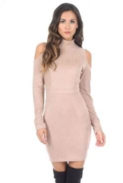 AX Paris High Neck Cold Shoulder Faux Suede Mini Dress