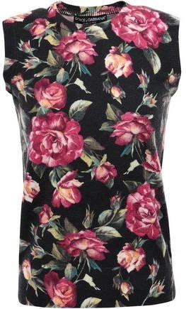 Dolce & Gabbana Floral-print Cashmere Top