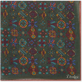 Drakes Mens Printed Luxurious Silk-Blend Symmetrical Print Pocket Square