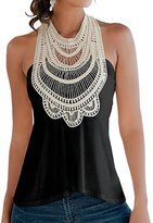 Fashion Story Women Lace Floral Crochet Sleeveless Halter Backless Blouse Vest Shirt Tank Top