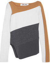 Diane von Furstenberg Asymmetric Color-block Wool Sweater - Camel