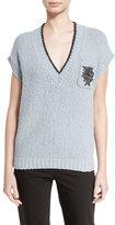 Brunello Cucinelli Cap-Sleeve V-Neck Pullover Sweater, Light Blue