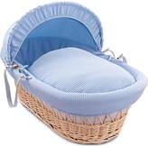 Clair De Lune Waffle Natural Wicker Moses Basket - Blue
