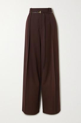 Bottega Veneta Belted Pleated Wool-twill Wide-leg Pants - Brown