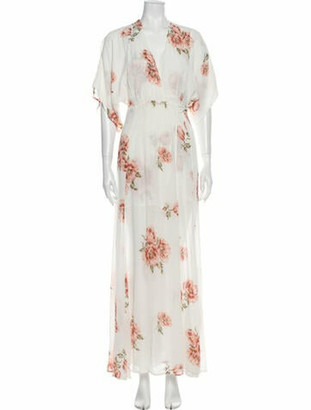 Reformation Floral Print Long Dress White