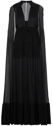 Valentino Cape-back Pleated Crepe And Silk-chiffon Gown