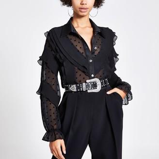 River Island Womens Black spot frill long sleeve shirt