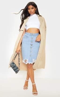 PrettyLittleThing Light Wash Button Through Distressed Denim Midi Skirt