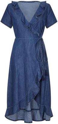 Yumi Frill Wrap Denim Dress