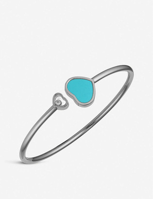 Chopard Happy Hearts 18ct white-gold, turquoise and diamond bangle bracelet