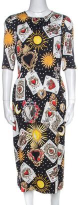 Dolce & Gabbana Black Playing Cards Print Silk Midi Dress M