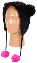 Betsey Johnson Groovy Faux Fur Critter Hat (Black) - Hats