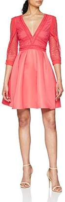 Little Mistress Women's Coral Skater Dress A-Line Plain V-Neck 3/4 Sleeve Party Dress,8