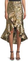 Johanna Ortiz Metallic Jacquard Ruffle Evening Skirt