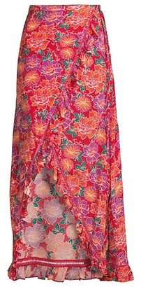PALOMA BLUE Stevie Floral Silk-Blend Wrap Skirt