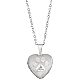 Charming Girl Sterling Silver Diamond Accent Paw Locket Necklace
