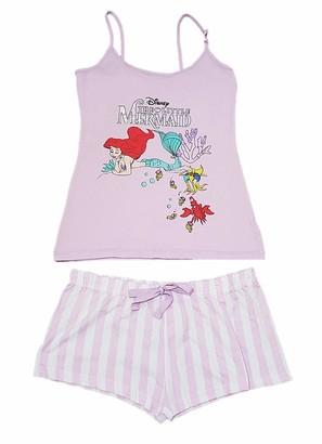 Disney ; ; The Little Mermaid Lilac Cami Vest & Shorts Pyjama Pajama Pj Set for Ladies Gift New BNWT (UK L 14-16 / EUR 42-44/ USA 10-12)