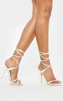 PrettyLittleThing White Mid Heel Toe Loop Ankle Tie Heel