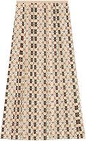 Gucci Silk skirt with Web kisses print - women - Silk - 40