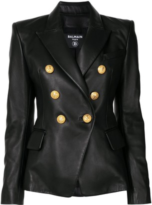 Balmain Buttoned Leather Jacket