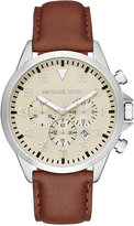 Michael Kors Men's Chronograph Gage Chocolate Leather Strap Watch 45mm MK8441