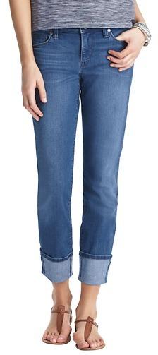LOFT Modern Straight Cuffed Cropped Jeans in Sea Breeze Wash