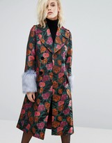 Asos Coat in Jacquard with Faux Fur Cuff